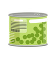 green peas in metallic can with label and ring vector image