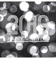 happy new year 2016 on grayscale bokeh circle vector image vector image