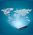 hologram global internet network above mobile vector image vector image