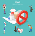 isometric flat concept stop plastic vector image