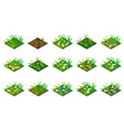 isometric grass and flowers set isolated tiles vector image vector image