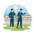 male soccer coach pointing finger giving vector image vector image