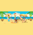 meeting friends and relaxing on beach vector image