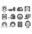 mri medical machine practice black icon set vector image vector image
