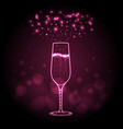 neon sign of champage glass on pink background vector image vector image