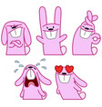 pink rabbit set vector image vector image