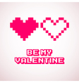 pixel hearts for Valentines day cards designs vector image vector image