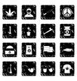 Rastafarian set icons grunge style vector image vector image
