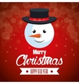 red background card christmas with face snowman vector image vector image
