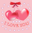red hearts love postcard vector image vector image