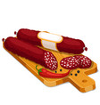 salami smoked sausage slices with chili and pepper vector image vector image