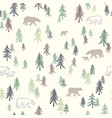 seamless pattern with trees and bears vector image vector image