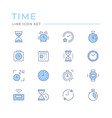 set color line icons time vector image