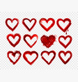 set of red grunge hearts vector image