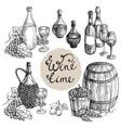 set of wine bottle and barrel grapes vector image