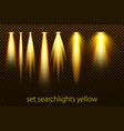 set of yellow searchlights on a transparent vector image vector image