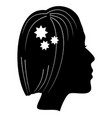 silhouette of a lady head with classic haircut vector image vector image