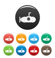small submarine icons set color vector image vector image