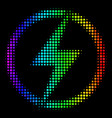 spectral colored dotted electric power icon vector image vector image