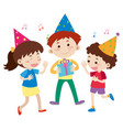 three happy kids at birthday party vector image
