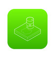 toxic waste spilling from barrel icon green vector image
