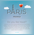 travel to paris france traveling background vector image vector image