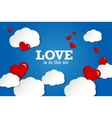 Valentines card Red hearts on sky background vector image