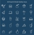 25 Food Drink Outline Icon vector image