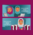 arab woman on distance education set banners vector image vector image