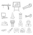 architecture and construction outline icons in set vector image