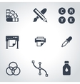 black polygraphy icon set vector image vector image