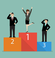Business woman celebrates on winning podium next vector image vector image