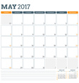 Calendar Planner Template for May 2017 Week Starts vector image vector image