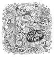 Cartoon cute doodles hand drawn wedding vector image vector image