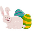 cartoon easter bunny with colored eggs vector image vector image