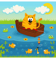 Cat on a boat fishing in a pond vector image vector image