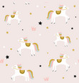 childish seamless pattern with cute horse vector image