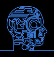 continuous line artificial intelligence neon head vector image vector image