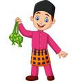 cute muslim boy holding a ketupat vector image