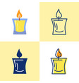 decorative candle icon set in flat and line style vector image vector image