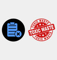 delete report page icon and scratched toxic vector image vector image