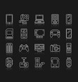 device simple white line icons set vector image vector image