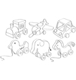 Doodle designs of toys vector image vector image