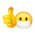 emoticon wearing medical mask doing thumb up vector image vector image