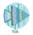 Fish Icon on blue background vector image