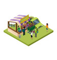 flowers market isometric concept sale of vector image