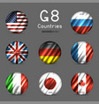 g8 national round flag icon set vector image