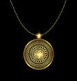 golden pendant medal vector image
