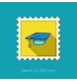 Graduation Cap flat stamp vector image