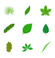 green organic leaf icons set cartoon style vector image vector image